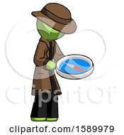 Green Detective Man Looking At Large Compass Facing Right