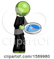 Green Clergy Man Looking At Large Compass Facing Right