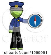 Green Police Man Holding A Large Compass
