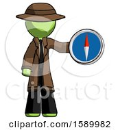 Green Detective Man Holding A Large Compass
