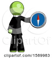 Green Clergy Man Holding A Large Compass