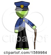 Green Police Man Standing With Hiking Stick