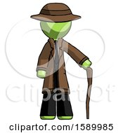 Green Detective Man Standing With Hiking Stick