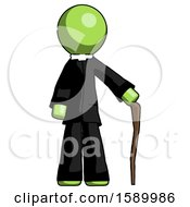 Green Clergy Man Standing With Hiking Stick