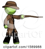 Green Detective Man Pointing With Hiking Stick