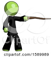 Green Clergy Man Pointing With Hiking Stick