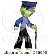 Green Police Man Walking With Hiking Stick