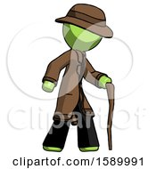 Green Detective Man Walking With Hiking Stick