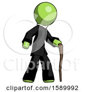 Green Clergy Man Walking With Hiking Stick