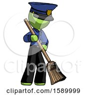 Green Police Man Sweeping Area With Broom