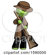 Green Detective Man Sweeping Area With Broom