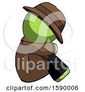 Green Detective Man Sitting With Head Down Facing Sideways Right