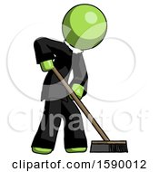 Green Clergy Man Cleaning Services Janitor Sweeping Side View