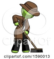 Green Detective Man Cleaning Services Janitor Sweeping Side View