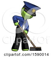 Green Police Man Cleaning Services Janitor Sweeping Side View