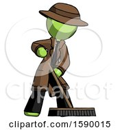 Green Detective Man Cleaning Services Janitor Sweeping Floor With Push Broom