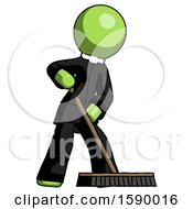 Green Clergy Man Cleaning Services Janitor Sweeping Floor With Push Broom