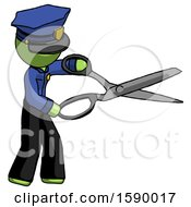 Green Police Man Holding Giant Scissors Cutting Out Something