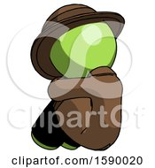 Green Detective Man Sitting With Head Down Back View Facing Left