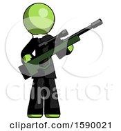 Green Clergy Man Holding Sniper Rifle Gun