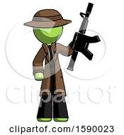 Green Detective Man Holding Automatic Gun