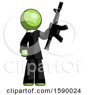 Green Clergy Man Holding Automatic Gun