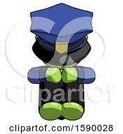 Green Police Man Sitting With Head Down Facing Forward