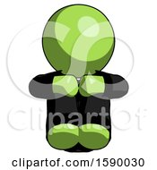 Green Clergy Man Sitting With Head Down Facing Forward