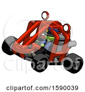 Green Police Man Riding Sports Buggy Side Top Angle View