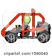 Green Clergy Man Riding Sports Buggy Side View
