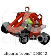 Green Clergy Man Riding Sports Buggy Side Top Angle View