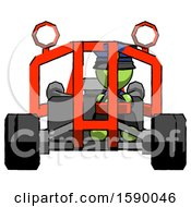 Green Police Man Riding Sports Buggy Front View