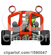 Green Detective Man Riding Sports Buggy Front View