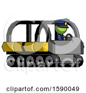 Green Police Man Driving Amphibious Tracked Vehicle Side Angle View