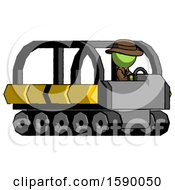 Green Detective Man Driving Amphibious Tracked Vehicle Side Angle View