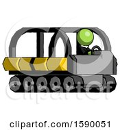 Green Clergy Man Driving Amphibious Tracked Vehicle Side Angle View