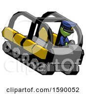 Green Police Man Driving Amphibious Tracked Vehicle Top Angle View