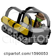 Green Detective Man Driving Amphibious Tracked Vehicle Top Angle View