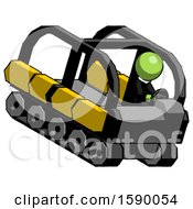 Green Clergy Man Driving Amphibious Tracked Vehicle Top Angle View