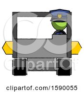 Green Police Man Driving Amphibious Tracked Vehicle Front View