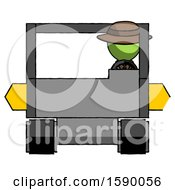 Green Detective Man Driving Amphibious Tracked Vehicle Front View