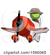 Green Detective Man Flying In Geebee Stunt Plane Viewed From Below