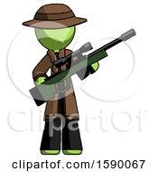 Green Detective Man Holding Sniper Rifle Gun