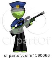 Green Police Man Holding Sniper Rifle Gun