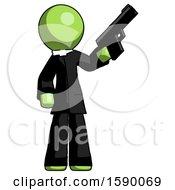 Green Clergy Man Holding Handgun