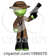 Green Detective Man Holding Handgun