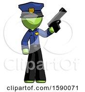 Green Police Man Holding Handgun