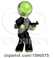 Green Clergy Man Tommy Gun Gangster Shooting Pose