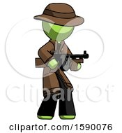 Green Detective Man Tommy Gun Gangster Shooting Pose