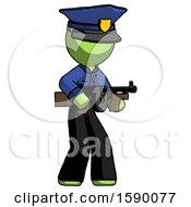 Green Police Man Tommy Gun Gangster Shooting Pose